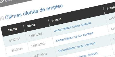 Muestra del portal de agencias de colocación en empleoaqui.com